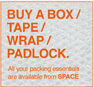buy storage boxes and tape for your self storage units.